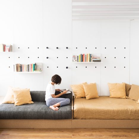 Fold-out furniture and storage solutions transform Silvia Allori's home into a studio