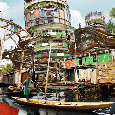 Designer Olalekan Jeyifous imagines vertical shanty towns for central Lagos