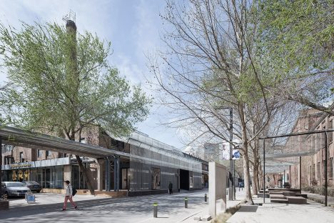 Vector Architects drapes steel mesh to create new entrance to M Woods museum in Beijing