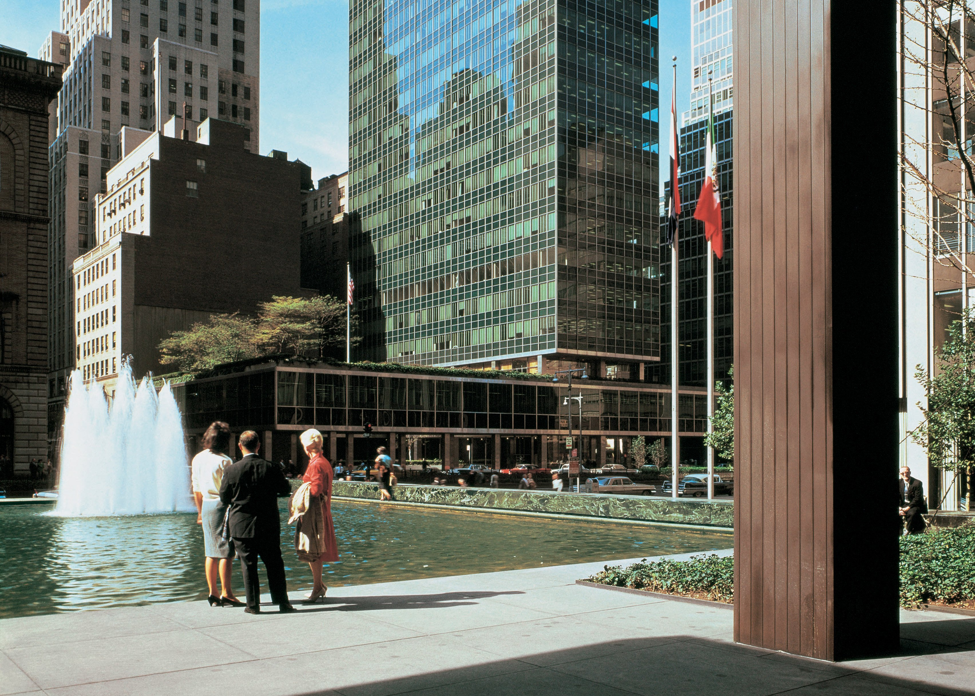 View of the Lever House by Gordon Bunshaft of Skidmore, Owings & Merrill, New York City, New York, photographed in 1959