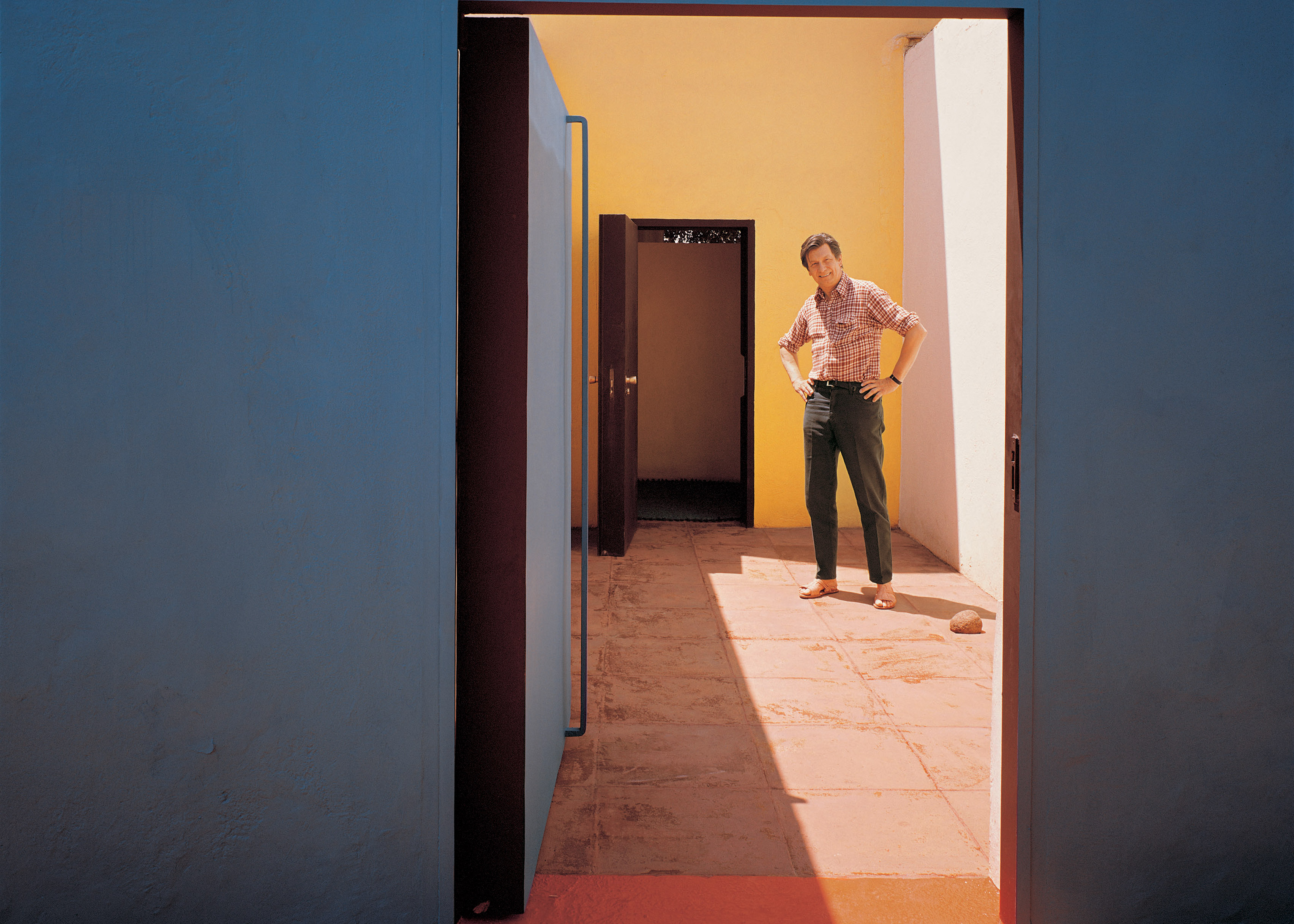 Mathias Goeritz at his home, which was co-designed with Ricardo Legorreta, Cuernavaca, Mexico, photographed in 1973