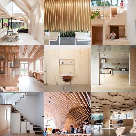 10 of the most popular plywood interiors from Dezeen's Pinterest boards
