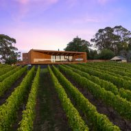 Red Hill Residence by Finnis Architects has a funnel-shaped deck overlooking a winery
