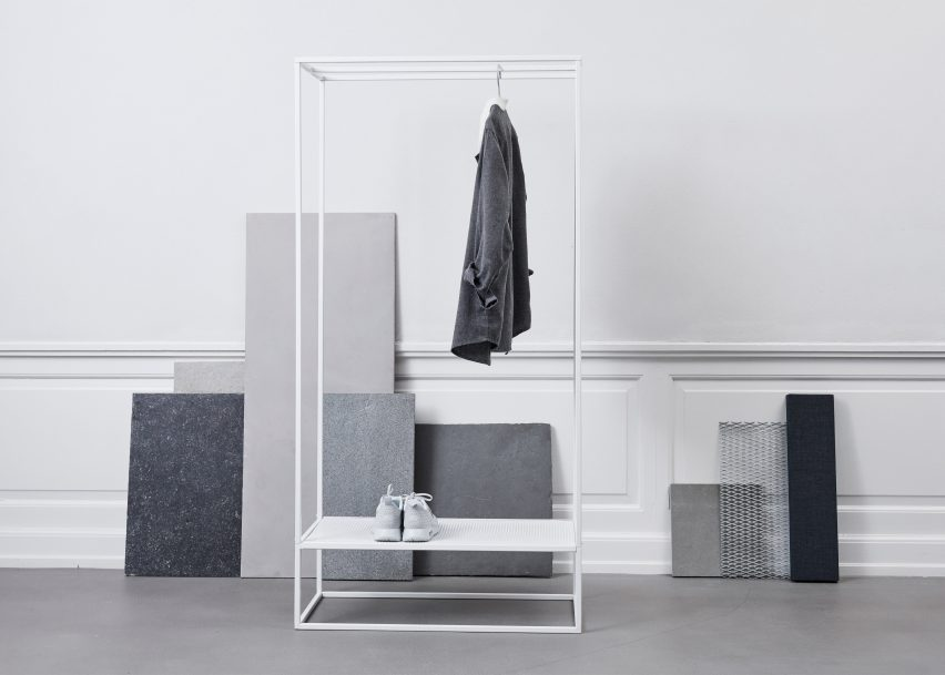 Geometric coat stands and book shelves feature in Kristina Dam's Sculptural Minimalism collection