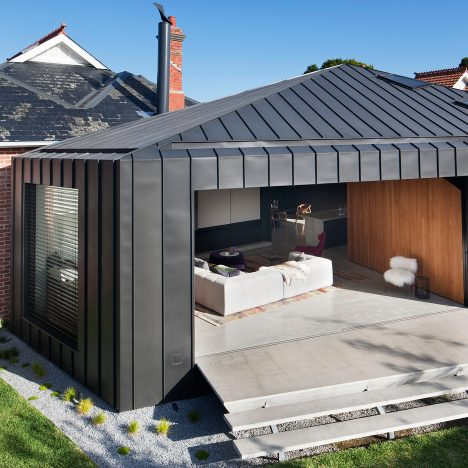 Matt Gibson's faceted Shadow House extends an Edwardian home in Melbourne