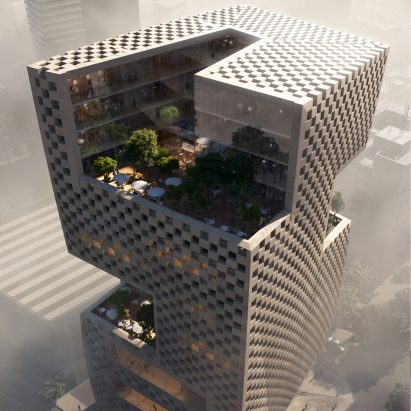 Snøhetta unveils plans for Beirut bank featuring checkerboard cladding and elevated gardens