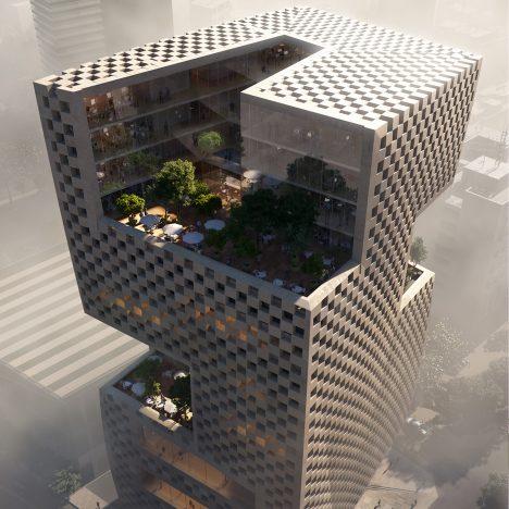 Snøhetta designs Beirut bank featuring chequerboard walls and rooftop gardens