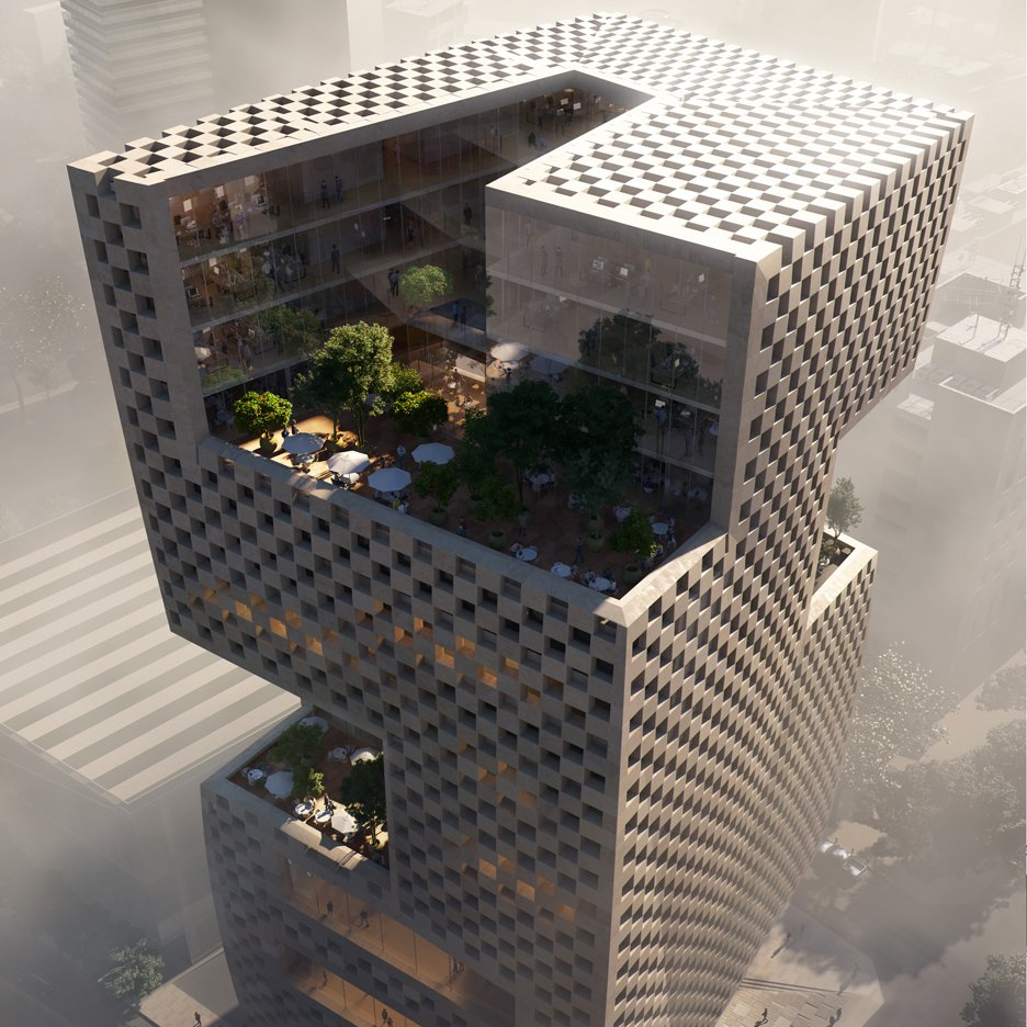 Snøhetta designs Beirut bank with chequerboard walls and rooftop ...