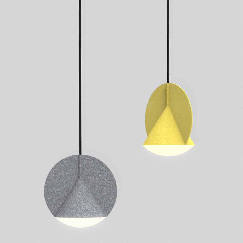 Outofstock designs geometric felt lamps for Bolia