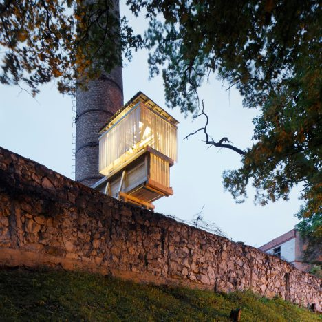 Students create Night Train party pavilion for former brewery in Latvia