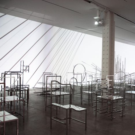 Nendo shows 50 Manga Chairs within light installation at New York's Friedman Benda