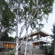 Bourgeois Lechasseur's V-shaped Altaïr House overlooks a Quebec forest