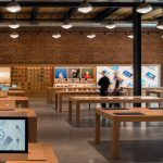 Apple Store Williamsburg by Bohlin Cywinski Jackson features exposed brick walls