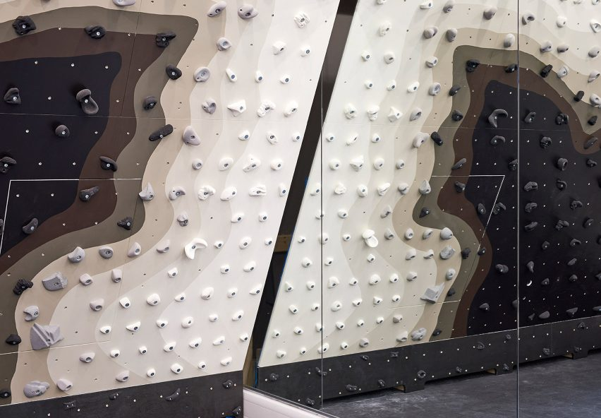Patternity installs monochrome climbing wall inside London's Ace Hotel