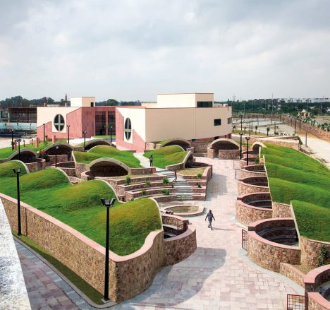 Awadh Shilpgram is a crafts hub influenced by traditional Indian architecture