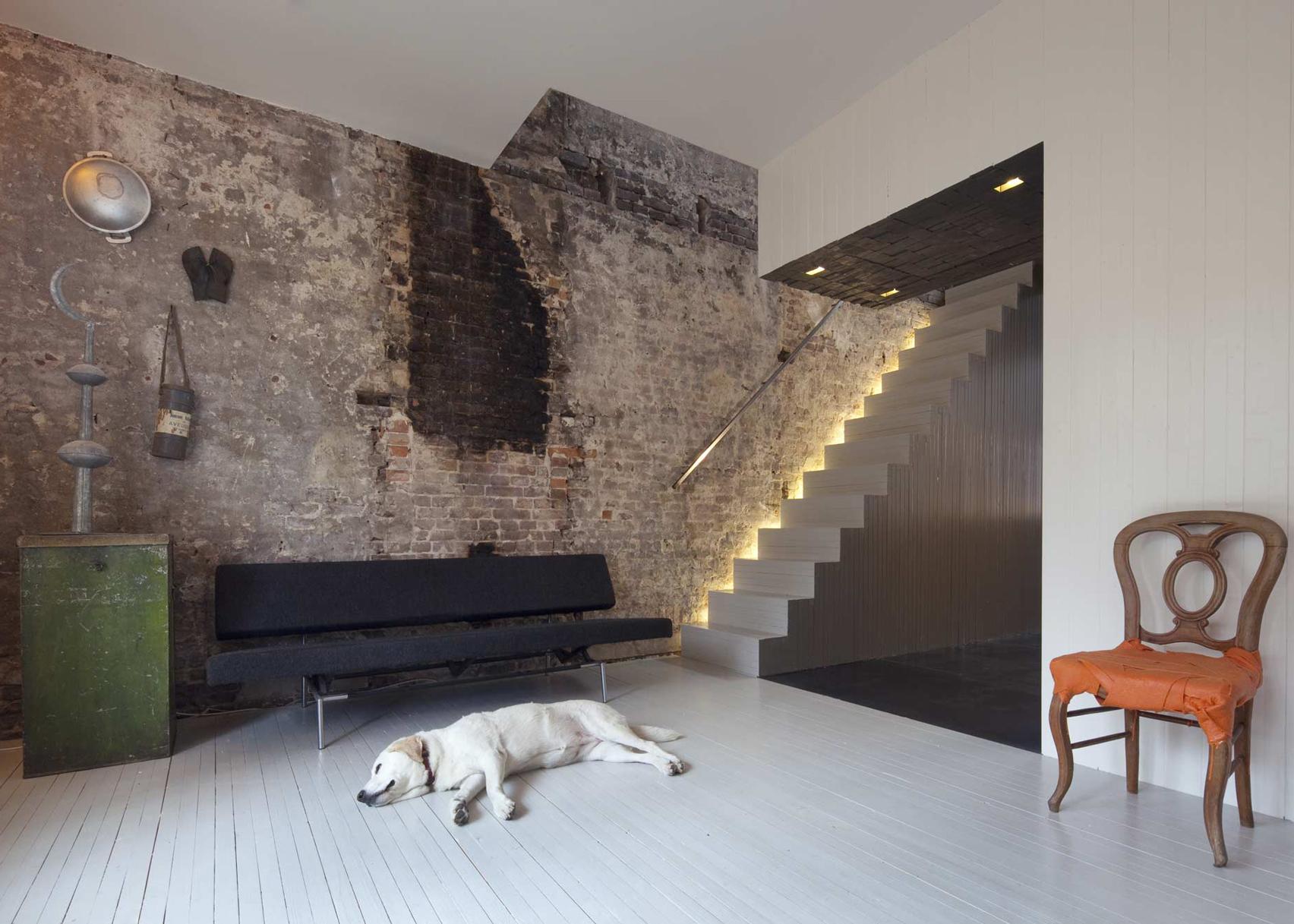 Black Pearl Rotterdam townhouse on the top 10 brick interiors on Dezeen's Pinterest boards