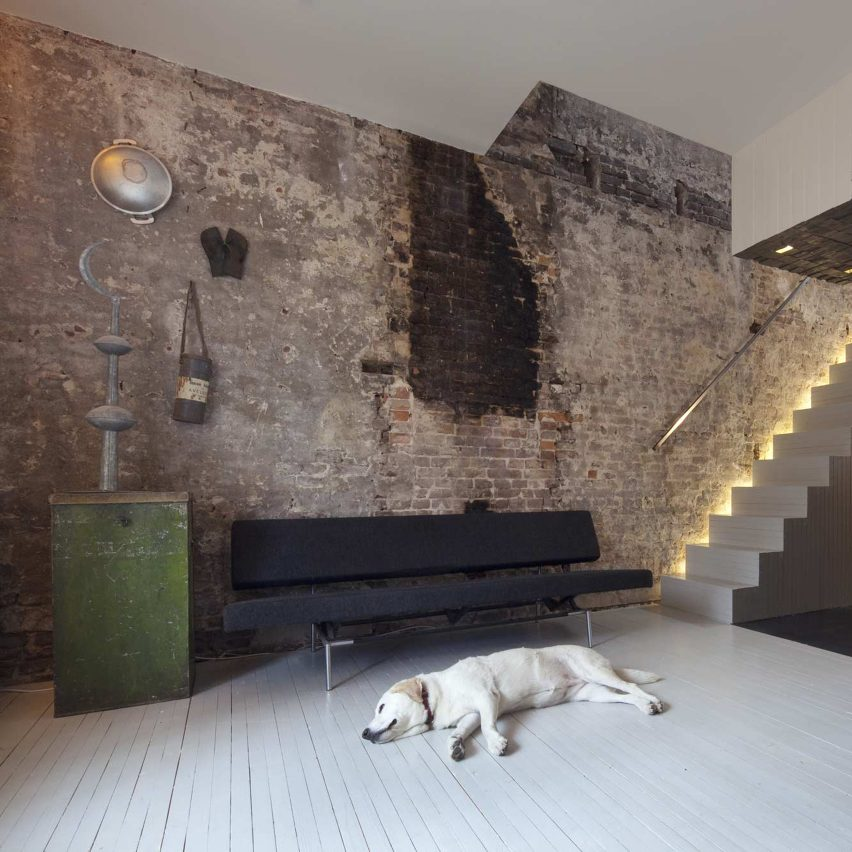 Black Pearl Rotterdam townhouse on the top 10 brick interiors on Dezeen's Pinterest boards