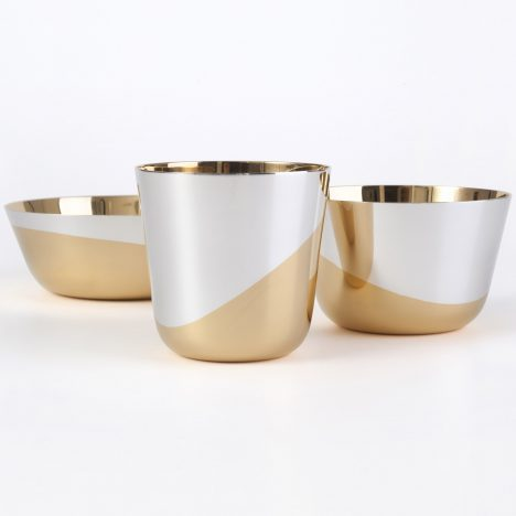 Thomas Feichtner designs set of minimal vessels dipped in gold