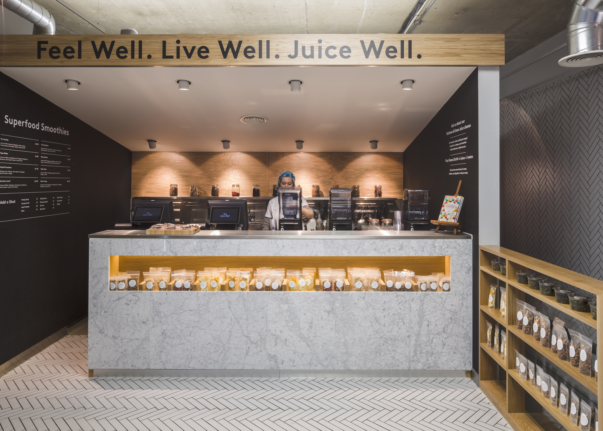 Cold Press Juice Bar by Jump Studios is one of the 10 most popular marble interiors on Pinterest