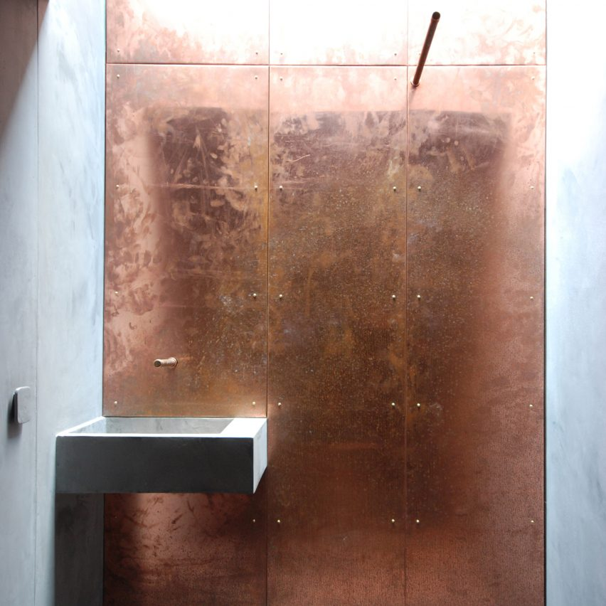 Copper clad studio by Stonewood features in Dezeen's Pinterest bathroom roundup