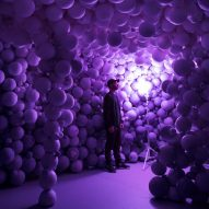 Daniel Arsham creates colourful cave from moulded sports balls at Galerie Perrotin