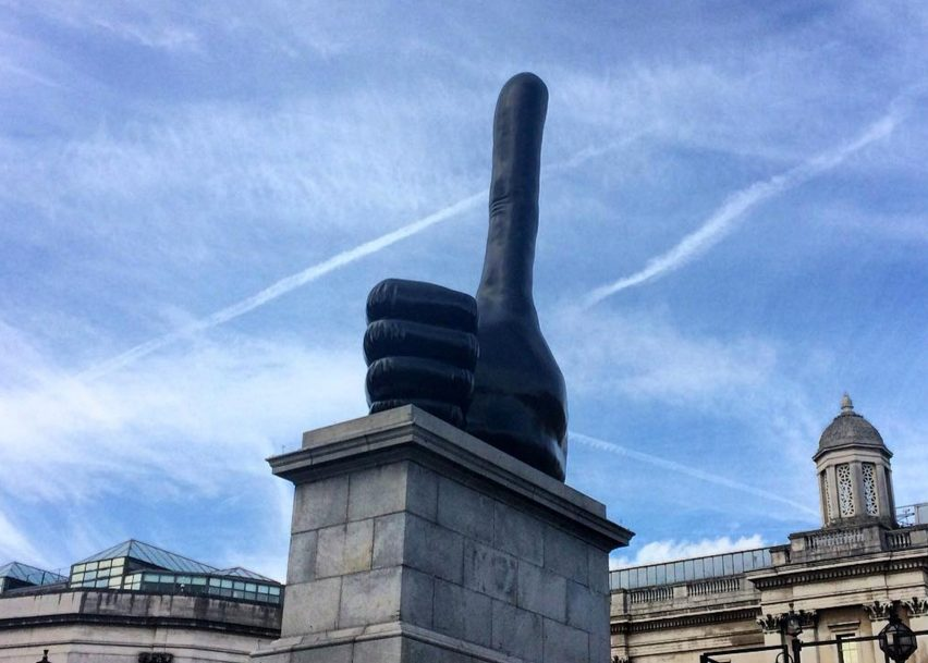 Shrigley's Really Good sculpture of a huge hand with a bizarrely elongated thumb was unveiled today on the Fourth Plinth in Trafalgar Square. Photograph by Instagram user Worldscientificuk