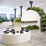 Robert Storey's pop-up Shoe Park for Everlane references Barbican conservatory