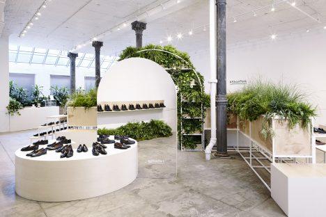 Robert Storey's pop-up Shoe Park for Everlane references Barbican conservatory