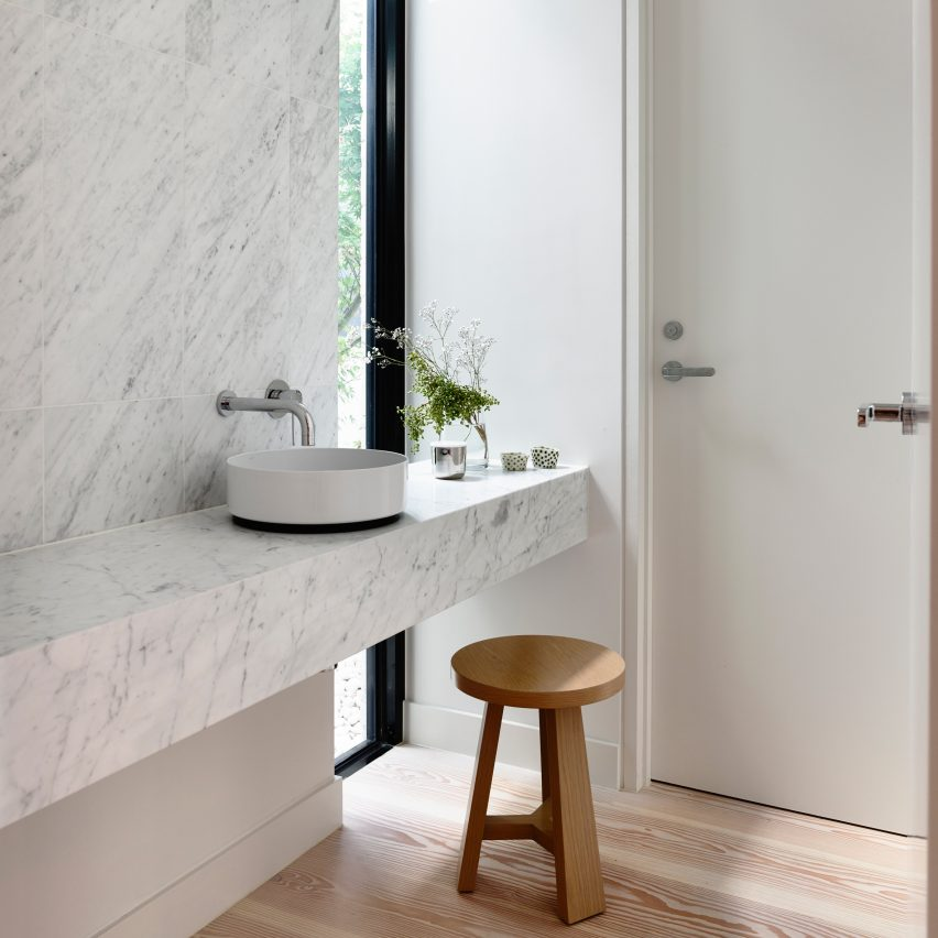 Fairbairn House in Melbourne is one of the 10 most popular marble interiors on Pinterest