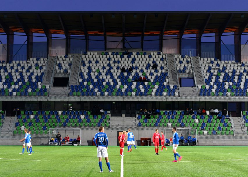 Spectator stand at the Rovaniemi Sports Arena, Railo, by APRT Architects