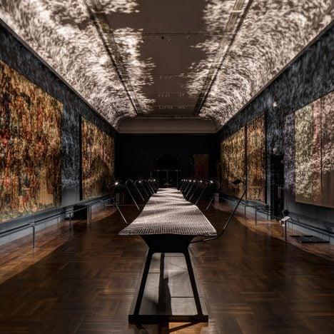 Benjamin Hubert lights V&A's medieval tapestry room with rippling steel installation