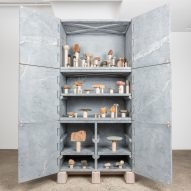 Relief Stone Cabinet by Fort Standard at Chamber's Of Cabinets and Curiosities exhibition