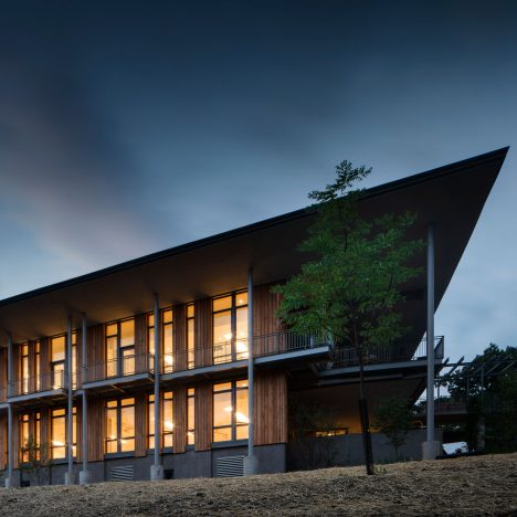 """Bohlin Cywinski Jackson's nature centre in Pittsburgh """"blends with the surrounding woods"""""""