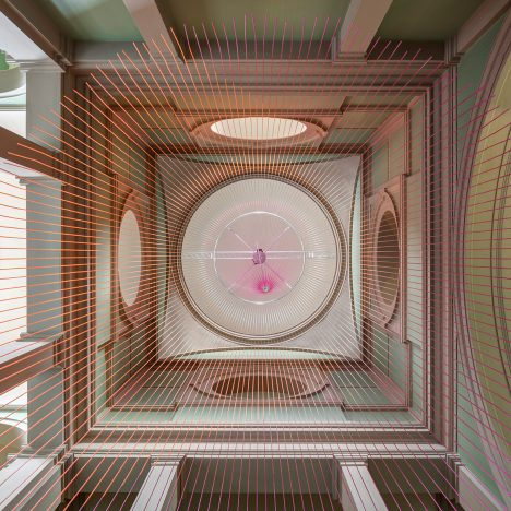"Glithero suspends neon ""abstract clock"" above V&A stairwell"