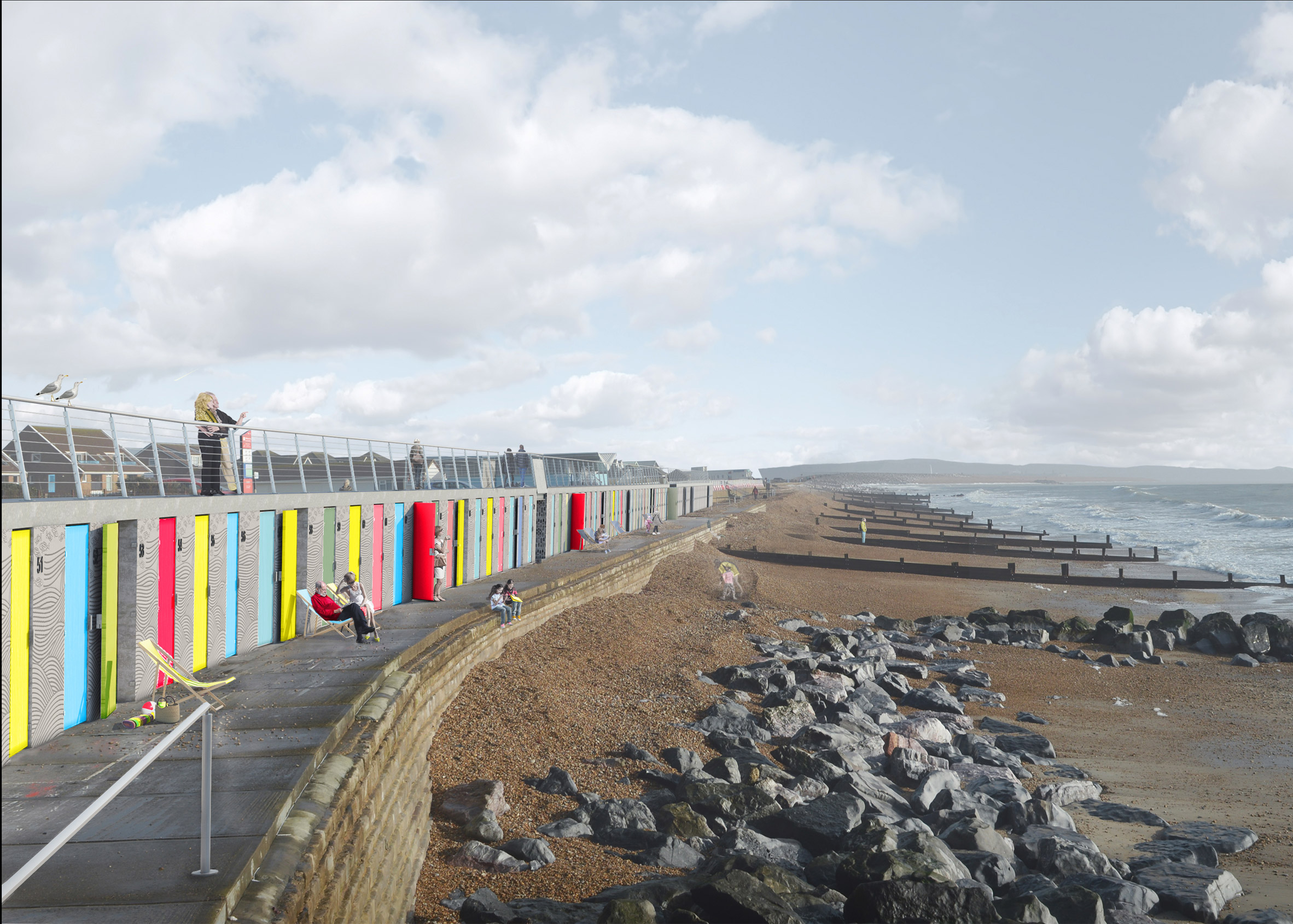 """Colourful beach huts and promenade by Snug Architects designed to withstand a """"perfect storm"""""""