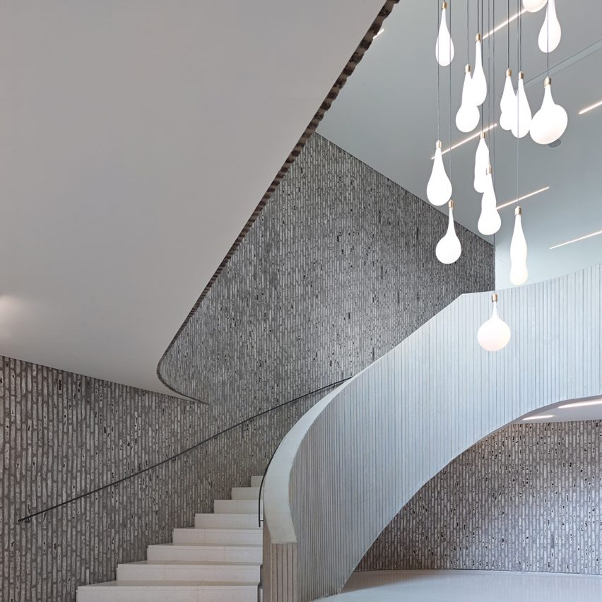 Kortrijk Auditorium by Dehullu Architecten on the top 10 brick interiors on Dezeen's Pinterest boards