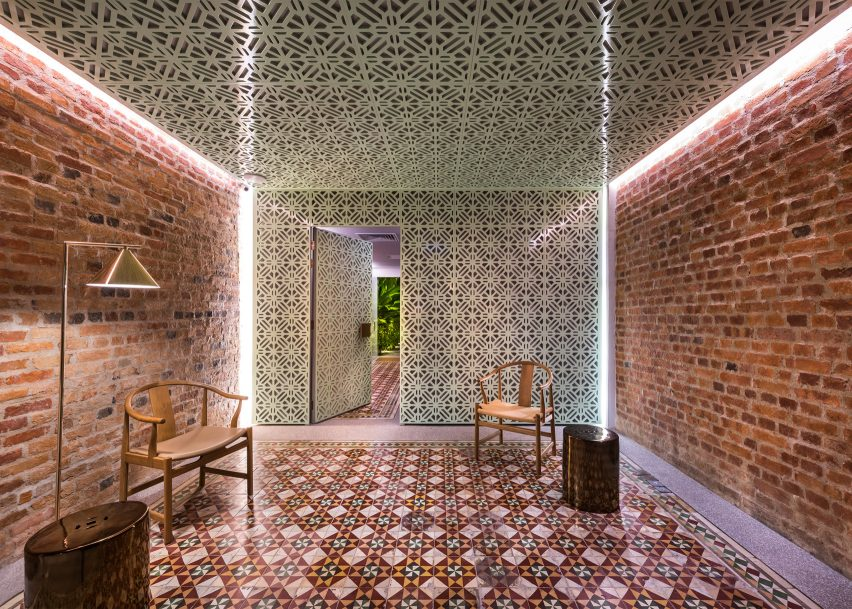Ministry of Design's Malaysian shophouses on the top 10 brick interiors on Dezeen's Pinterest boards
