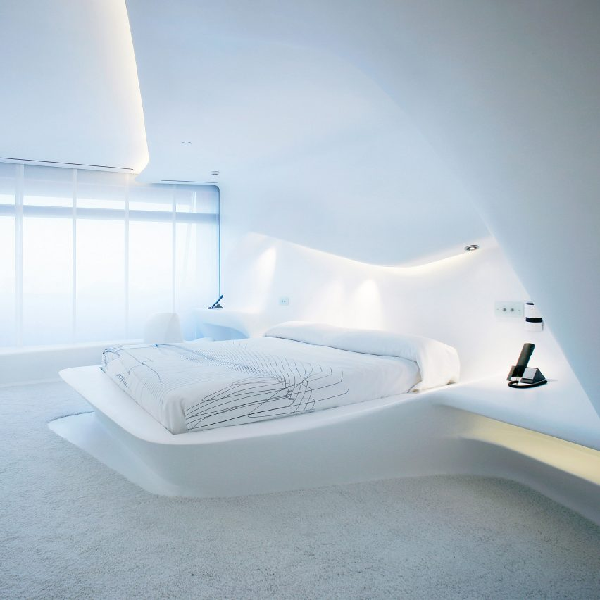 "Moby described a hotel room by the late British architect Zaha Hadid – believed to be in the Puerta America Madrid hotel in Spain – as ""the least comfortable space I've ever inhabited"""