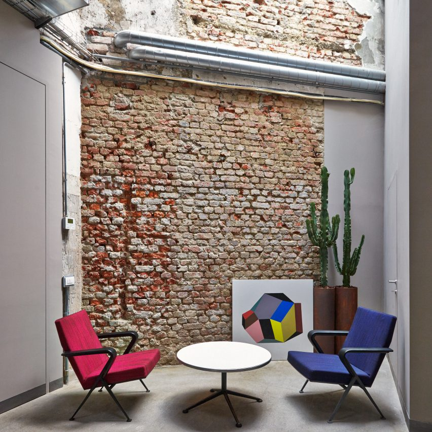 MSGM Headquarters by Fabio Ferillo on the top 10 brick interiors on Dezeen's Pinterest boards