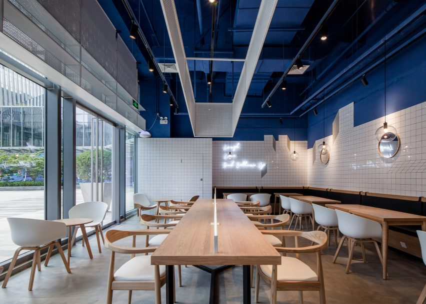 3 of 8 paras cafe by swimming pool studio - Blue Restaurant Design