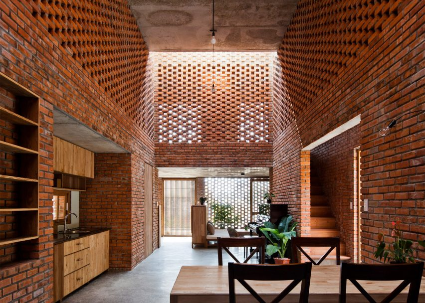 Perforated brick house by Tropical Space on the top 10 brick interiors on Dezeen's Pinterest boards