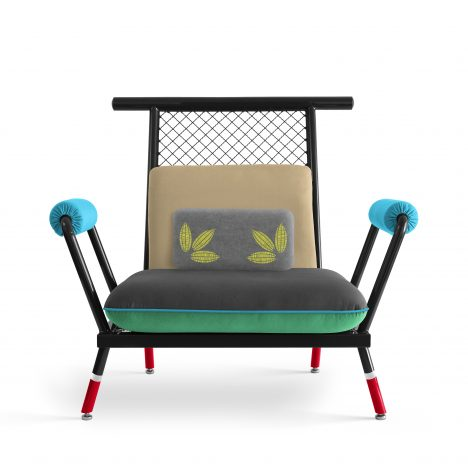 Paulo Kobylka designs furniture using brightly painted industrial mesh