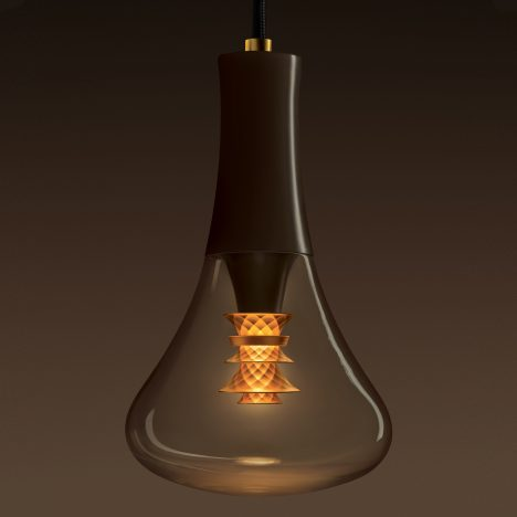 Plumen designs bulb with faceted gold shade on the inside