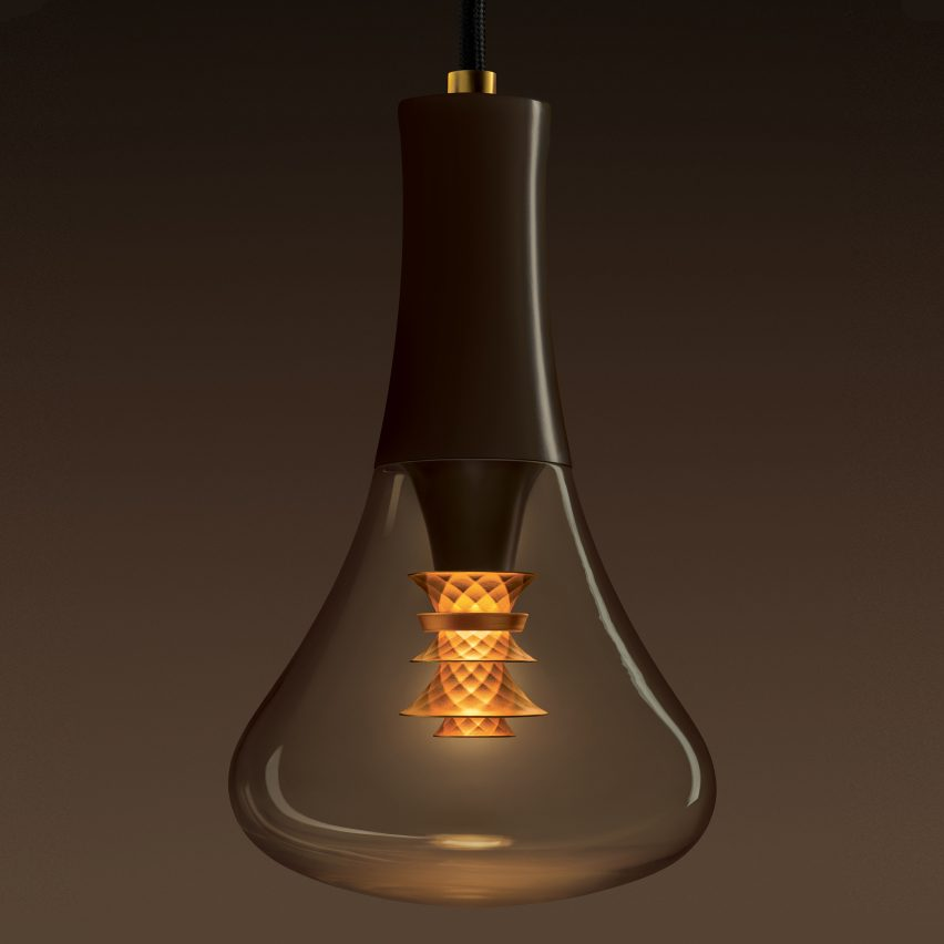 Plumen designs bulb with faceted gold internal shade