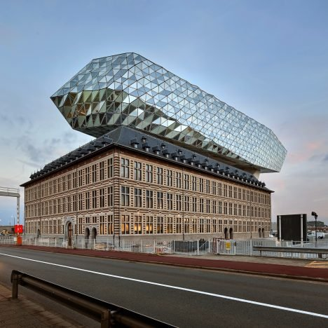 Zaha Hadid Architects sits rippling glass lump on top of Antwerp port building