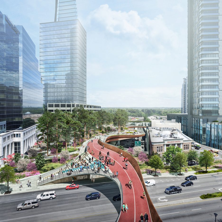 elevated urban park in atlanta would stretch over a rail