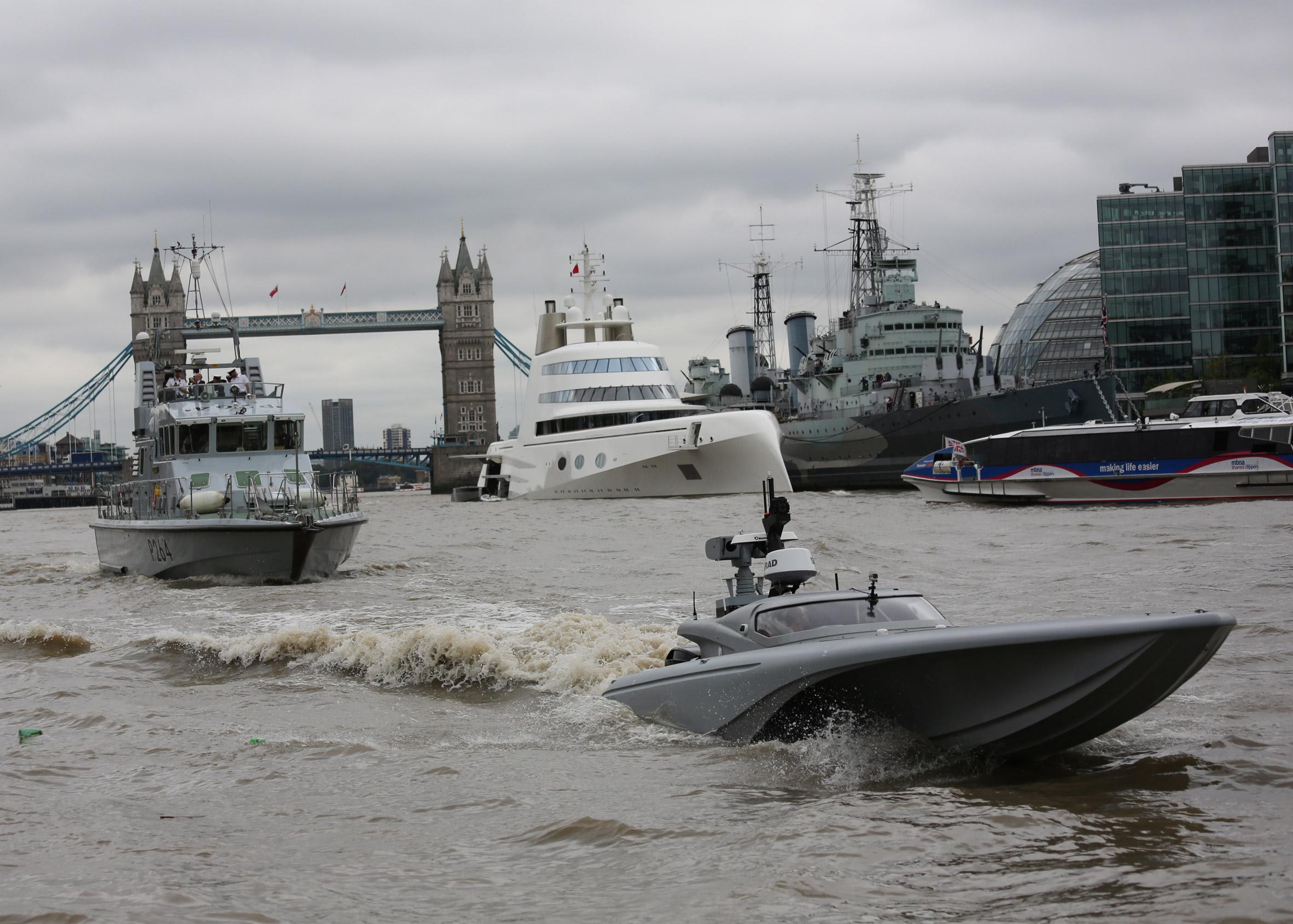 Navy unveils robot spy speedboat