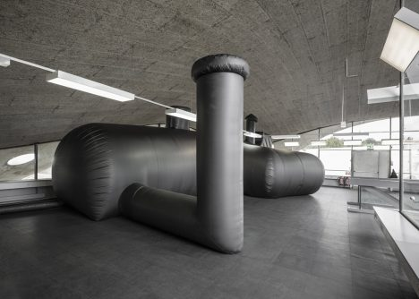 Inflatable black nightclub created by Bureau A for Federation of Swiss Architects
