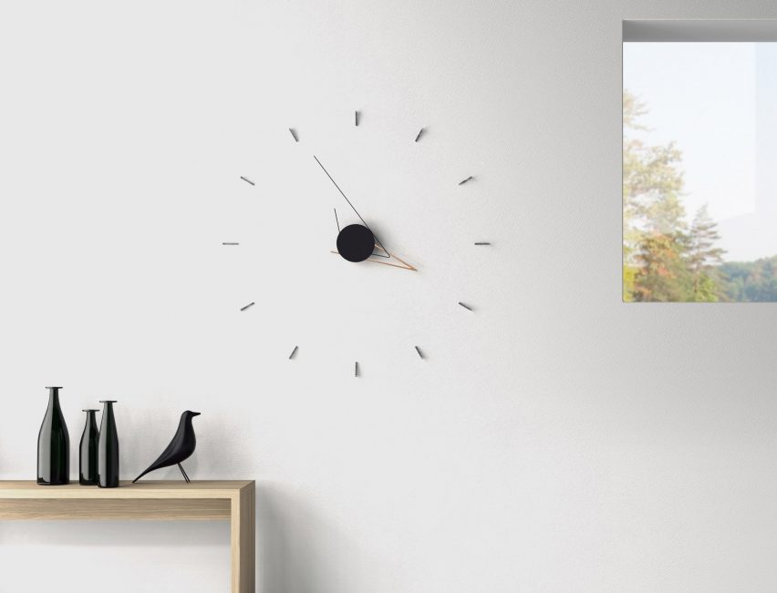 Fresh Poetic Lab us faceless Silo Clock uses lines and shadows to tell the time