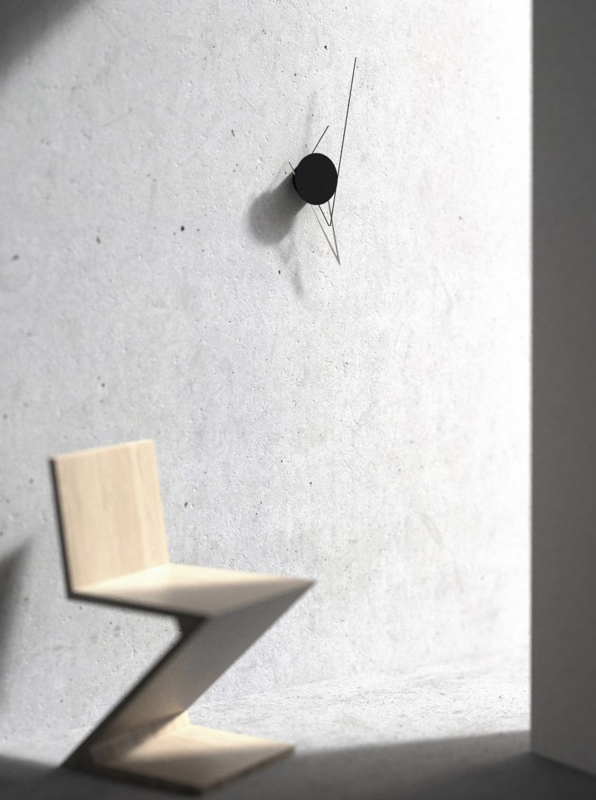 Poetic Lab's faceless Silo Clock uses lines and shadows to tell the time